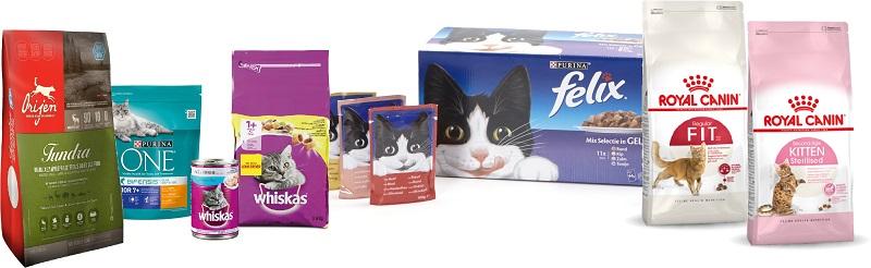 kattenvoer van verschillende merken